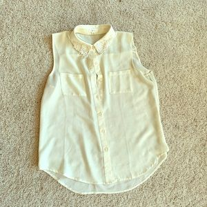 White button up tank top